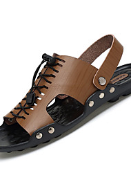 Men's Sandals Gladiator PU Spring Summer Outdoor Casual Lace-up Flat Heel Khaki Blue Brown Yellow Flat
