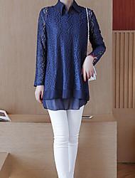 baratos -Mulheres Blusa Sólido Calça Colarinho Chinês