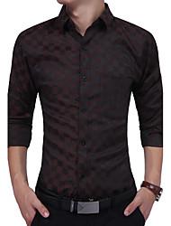 cheap -Men's Business Daily Casual Work Vintage Casual Boho All Seasons Shirt,Plaid/Check Checks Shirt Collar Long Sleeves Cotton Polyester