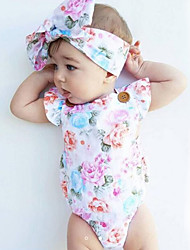 cheap -Baby Girls' Print Fashion Vintage One-Pieces,Cotton Summer Floral Sleeveless White