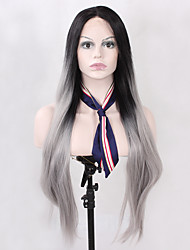 cheap -Synthetic Lace Front Wig Straight Natural Hairline Ombre Hair Gray Black Women's Lace Front Natural Wigs Long Synthetic Hair