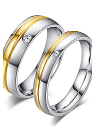 cheap -Couple's Couple Rings Ring Band Ring Titanium Champagne Rose Gold Titanium Steel Round Bridal Simple Style Wedding Party Anniversary