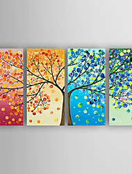 Hand-Painted 4pcs of Set  Abstract Money Trees Canvas Oil Painting For Home Decoration Ready to Hang