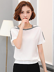 Women's Going out Vintage Blouse,Solid U Neck Short Sleeves Others