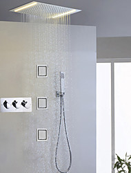 Contemporary LED Shower System Sidespray Rain Shower Handshower Included Lights Ceramic Valve Three Handles Five Holes Chrome , Shower