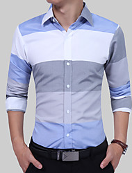 cheap -Men's Cotton Slim Shirt - Color Block Blue & White Classic Collar