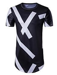 Masculino Camiseta Casual Simples Moda de Rua Verão,Estampado Algodão Decote Redondo Manga Curta Opaca