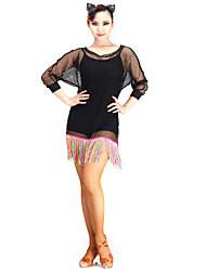 preiswerte -latin dance tragen kleider frauen leistung mesh elegantes klassisches kleid
