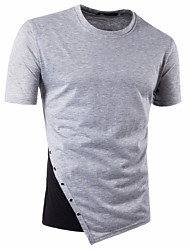 Men's Casual Daily Work Summer Round Collar Large Size Stitching Color short-sleeved Personality Irregular Pullover Short Sleeve Cotton Thin T-shirt
