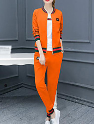 cheap -Women's Spring Hoodie Pant Suits Stand Long Sleeve Others