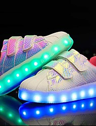 Boys' Sneakers Light Up Shoes Leatherette Summer Fall Casual Outdoor LED Low Heel White Black Purple Pink/White Under 1in