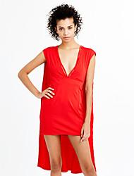 Femme Découpé Moulante Robe Soirée Soirée Sexy simple,Couleur Pleine V Profond Mini Manches Courtes Rouge Noir Polyester EtéTaille