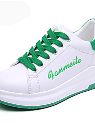 cheap -Women's Athletic Shoes Comfort Summer Fall PU Walking Shoes Casual Office & Career Lace-up Wedge Heel Platform Black/White White/Green