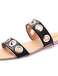 cheap -Women's Shoes PU Summer Slippers & Flip-Flops Flat Heel Open Toe for Black Beige Gray