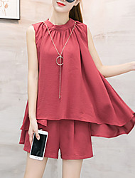 Women's Going out Casual/Daily Beach Sexy Street chic Sophisticated Blouse Pant Suits,Solid Round Neck Sleeveless Inelastic