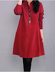 Women's Casual/Daily Simple A Line Dress,Solid Stand Knee-length Long Sleeves Linen Fall Mid Rise Inelastic Medium