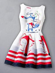 cheap -Girl's Print Jacquard Dress,Rayon Summer Sleeveless Cartoon Stripes Red