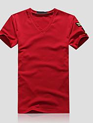 Kortærmet Krave Herrer Ensfarvet Simpel Afslappet/Hverdag T-shirt,Bomuld