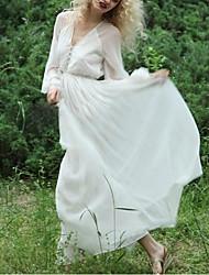 Dámské Sexy Šik ven Jdeme ven Běžné/Denní Swing Šaty Jednobarevné,Dlouhý rukáv Do V Maxi Polyester Jaro Léto Mid Rise Lehce elastické