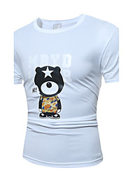 Men's Fashion Casual Cute Little Bear Printing Large Size Short Sleeve T Shirt