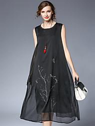 Damen Lose Etuikleid Kleid Einfach Chinoiserie Druck Rundhalsausschnitt Midi Ärmellos Baumwolle Chiffon - Satin Sommer Hohe Hüfthöhe