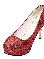 economico -Per donna Scarpe Finta pelle Estate Autunno Tacchi A stiletto Punta tonda Brillantini per Nero Argento Rosso Rosa