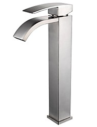 cheap -Contemporary Centerset Waterfall Ceramic Valve Single Handle One Hole Nickel Brushed, Bathroom Sink Faucet