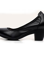 Damen High Heels formale Schuhe Leder Frühling Herbst formale Schuhe Blockabsatz Schwarz Kaffee Mandelfarben 12 cm & mehr
