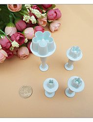 cheap -4Pcs/Set Cake Tools Plum Blossom Fondant Cake Decorating SugarCraft Plunger Cutter Flower Mold Home Kitchen Bake Tools