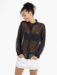 abordables -Mujer Algodón Camisa, Escote Chino A Lunares