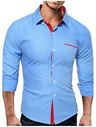 Men's Business Casual Simple Fall Winter Shirt,Dots Shirt Collar Long Sleeve 70%Wool30%Cotton 10D