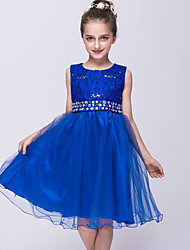 cheap -Princess Knee Length Flower Girl Dress - Lace Satin Tulle Sleeveless Jewel Neck with Rhinestone by Bflower