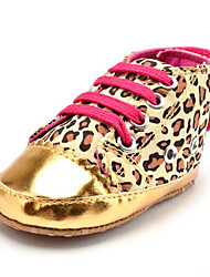 cheap -Newborn Baby Girls' Kids' Sneakers First Walkers Synthetic Fabric Fall Winter Party & Evening Dress Casual Leopard Animal Print Gore Flat Heel Gold