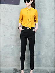 cheap -Women's Daily Work Casual Spring Shirt Pant Suits,Solid Stand Long Sleeve Chiffon Micro-elastic