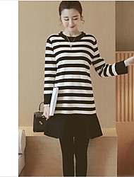 cheap -Women's Daily Casual Sweater Dress,Striped Round Neck Mini Long Sleeves Cotton Spring Mid Rise Micro-elastic Medium