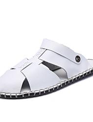 Men's Sandals Light Soles Cowhide Summer Casual Walking Flat Heel Black White 1in-1 3/4in