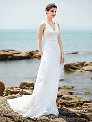 cheap -Sheath / Column V-neck Court Train Lace Wedding Dress with Appliques Button by LAN TING BRIDE®