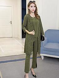 Manches Ajustées Pantalon Costumes Femme Printemps Manches longues Col Arrondi Micro-élastique