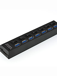 7 Port USB 2.0 Hub with Individual Power Switches and LEDs Lightweight Fast