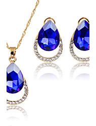 preiswerte -Damen Kubikzirkonia Kubikzirkonia Tropfen Schmuck-Set 1 Halskette / 1 Paar Ohrringe - Klassisch / Euramerican / Modisch Schwarz / Purpur
