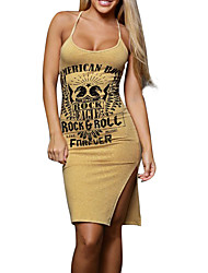 Women's Going out Casual/Daily Club Sexy Simple Street chic Bodycon DressPrint Criss Backless Split Word/Phrase U Neck Knee-length Sleeveless