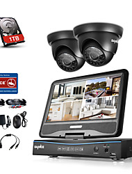 cheap -Sannce 4 Channel DVR Kits Surveillance Security System with 2 720P Dome Camera with 1TB HDD
