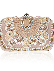 cheap -Women's Bags Polyester Evening Bag Imitation Pearl / Crystal / Rhinestone Champagne / White / Black