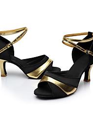 Personalizzabile Da donna Balli latino-americani Seta Sandali Per interni Tacco su misura Nero e Oro