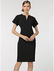 SHE'SWomen's Casual/Daily Work Sophisticated Shift DressSolid V Neck Knee-length Short Sleeve Polyester Summer Mid Rise Inelastic Thin