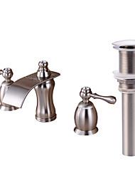 economico -Set di rubinetti - Cascata Nickel spazzolato A 3 fori Due maniglie Tre fori