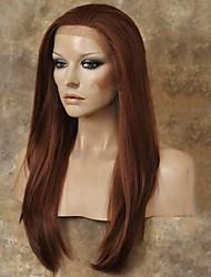 cheap -Natural Copper Red Front Lace Wig Heat Resistant Synthetic Hair Wig  Straight Lace Front Wig