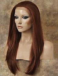 Недорогие -Синтетические кружевные передние парики Прямой Искусственные волосы Природные волосы Красный Парик Жен. Длинные Лента спереди Черный