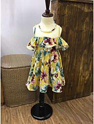 cheap -Girl's Lattice Dress, Cotton Summer Sleeveless Floral Yellow