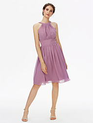cheap -A-Line Jewel Neck Knee Length Chiffon Bridesmaid Dress with Sash / Ribbon / Pleats by LAN TING BRIDE®